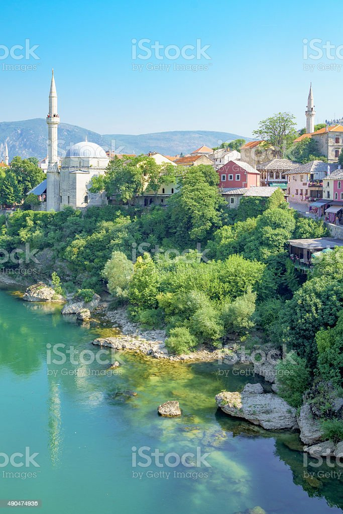 Mosques and minarets, Mostar stock photo