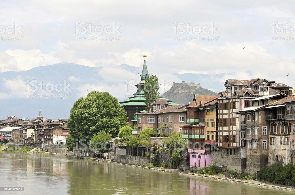 Mosques at Jahelum river in Srinagar, Kashmir royalty-free stock photo