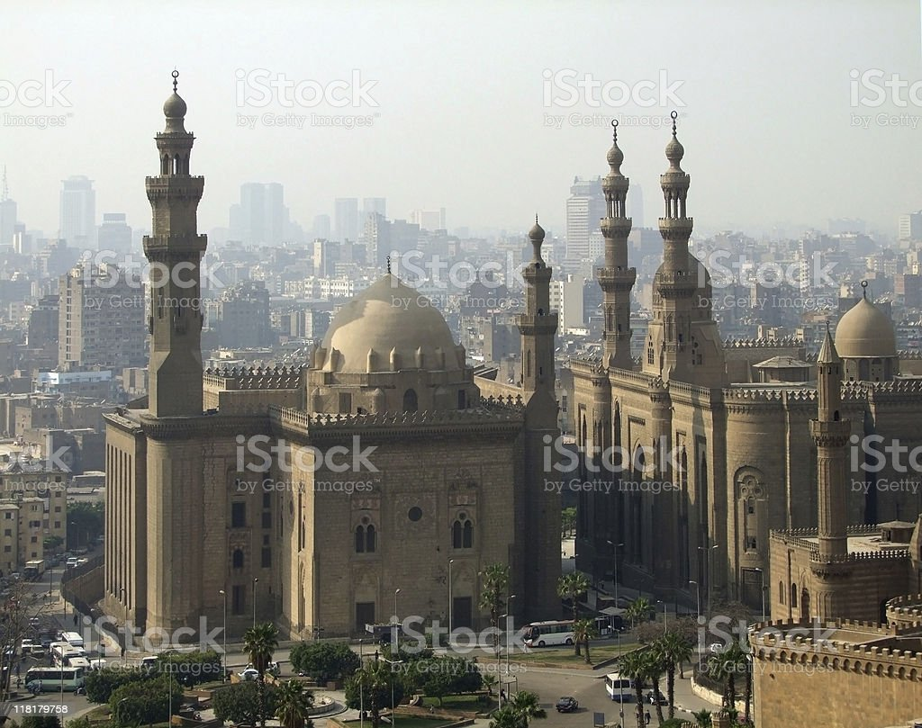 Mosques in Cairo at evening time royalty-free stock photo