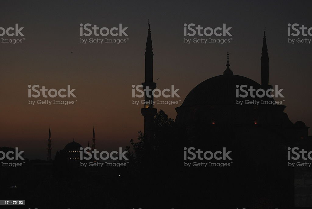 Mosques in the evening stock photo