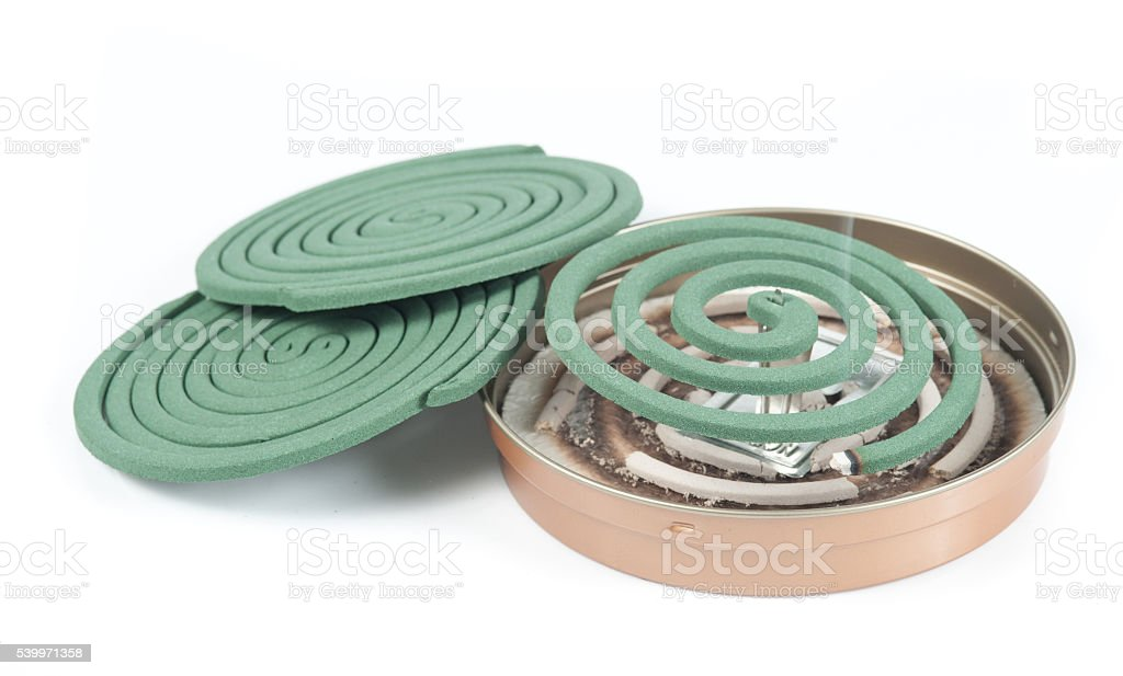 Mosquito coil on white background stock photo