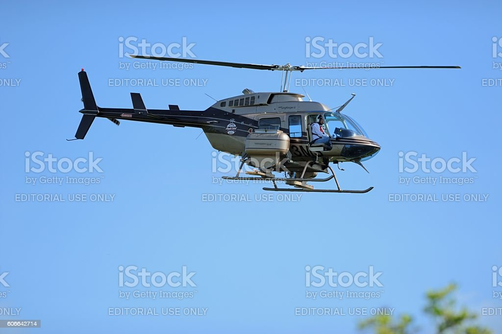 Mosquito control helicopter in Florida Keys stock photo