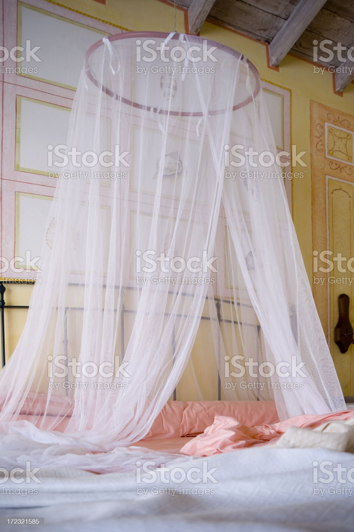 Mosquito Net Bed royalty-free stock photo