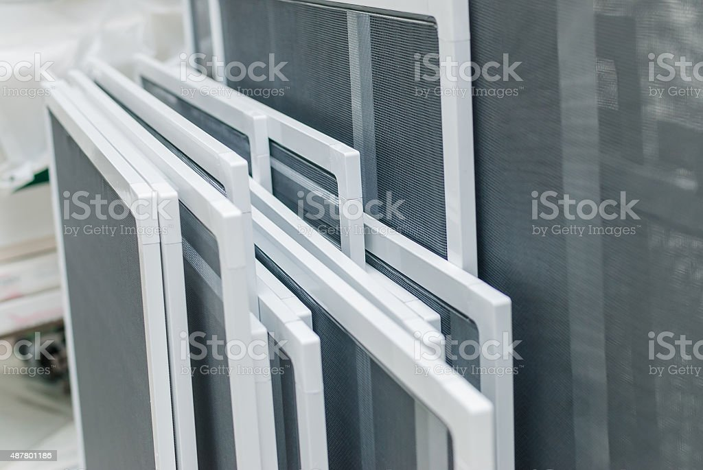 Mosquito Nets for Plastic PVC Windows stock photo