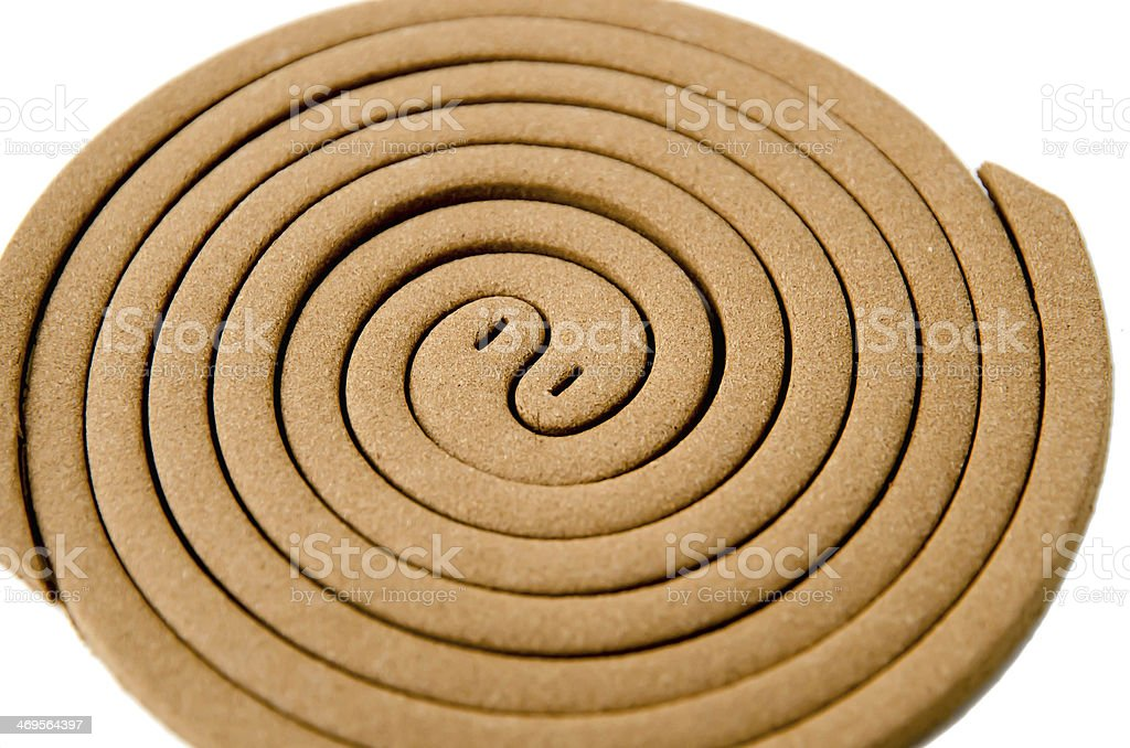 Mosquito repellent coils on white background stock photo
