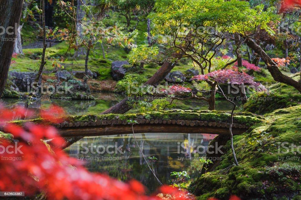 Moss Covered Garden Bridge stock photo