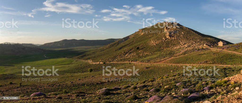 Moss covered highland valley in Middle Atlas mountain range in sunset, Morocco, Africa stock photo