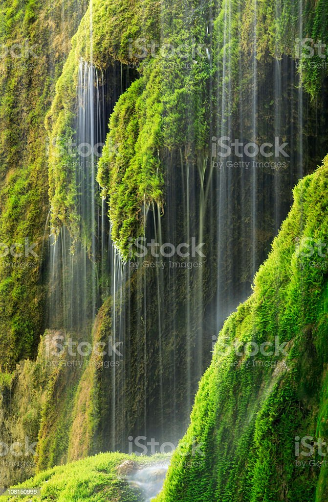 Moss Covered Waterfall and Sunlight stock photo