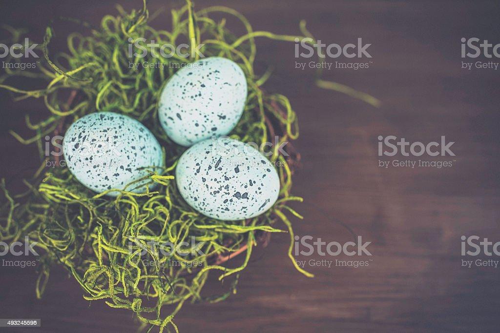 Moss nest with speckled bird's eggs. Easter arrangement. stock photo