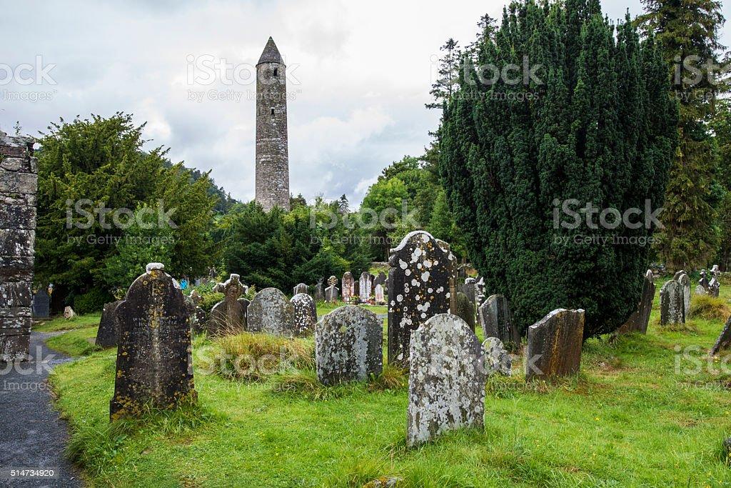 Moss-covered gravestones. Glendalough, Wicklow park, Ireland stock photo