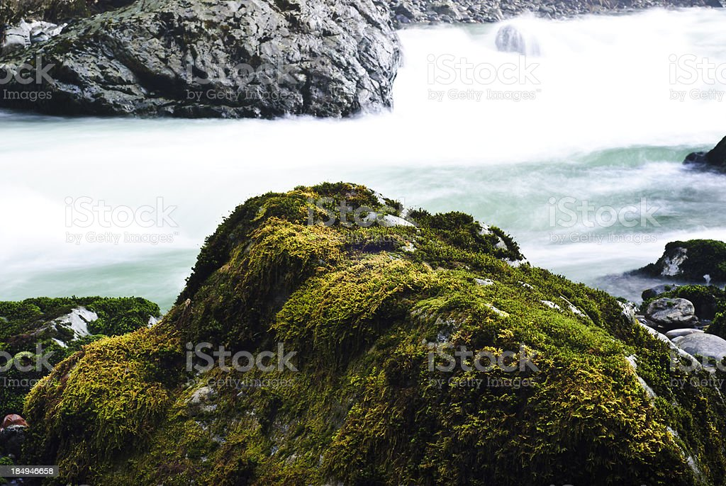 Moss-Covered Rock by River stock photo