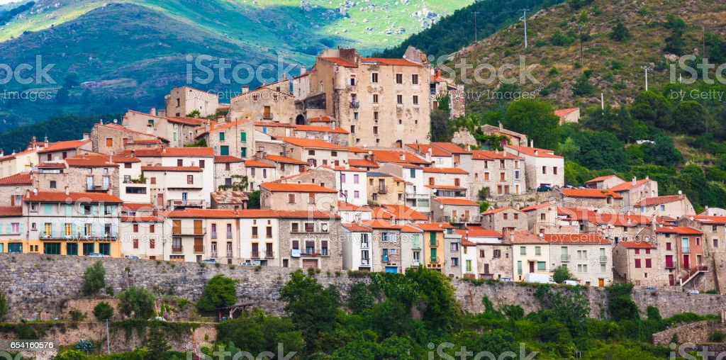 Mosset small and picturesque french village,member of Les Plus Beaux Villages de France.Mosset,Pyrenees-Orientales stock photo