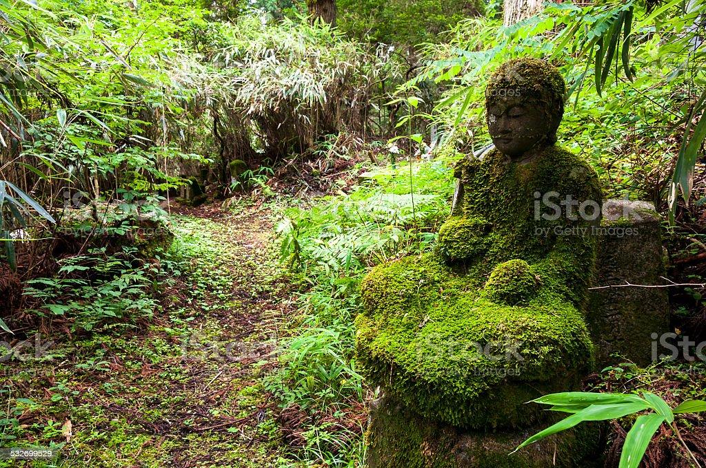 Mossy bodhisattva statue stock photo