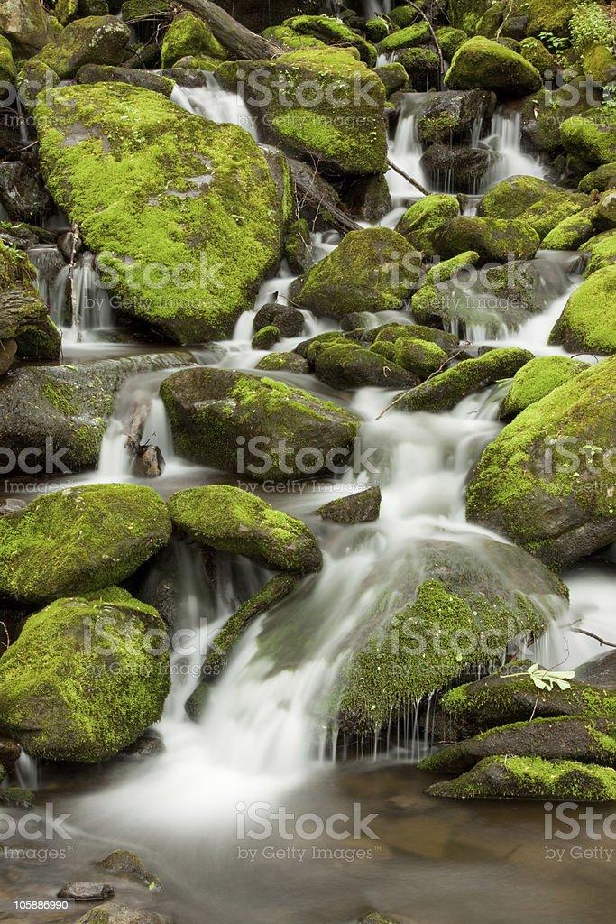 Mossy rocks guard a small waterfall royalty-free stock photo