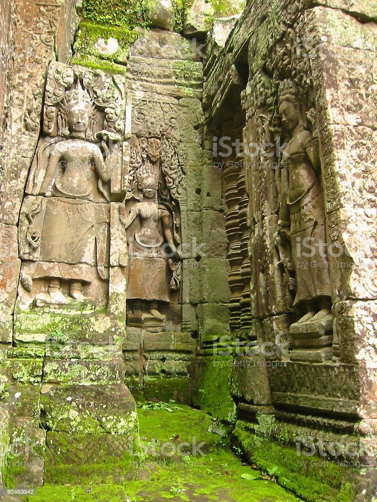 Mossy stones angkor wat ruins royalty-free stock photo