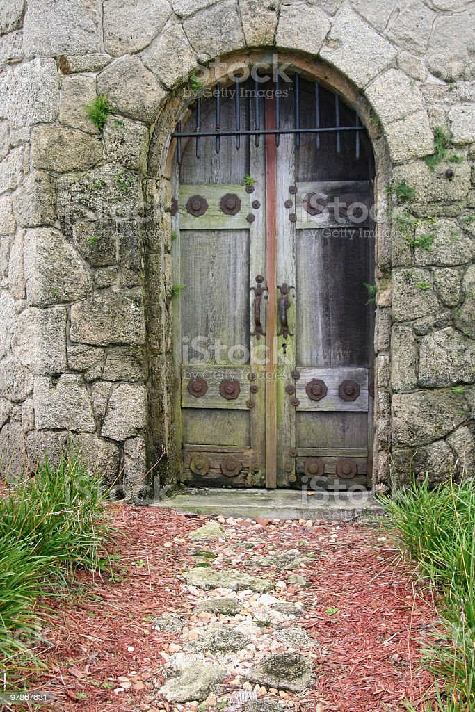 Mossy Wooden Door stock photo