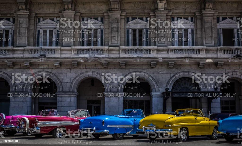 Most american convertible vintage cars in Havana Cuba stock photo