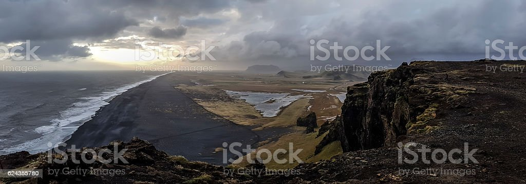 Most beautiful black sands beach of Vik in Iceland stock photo