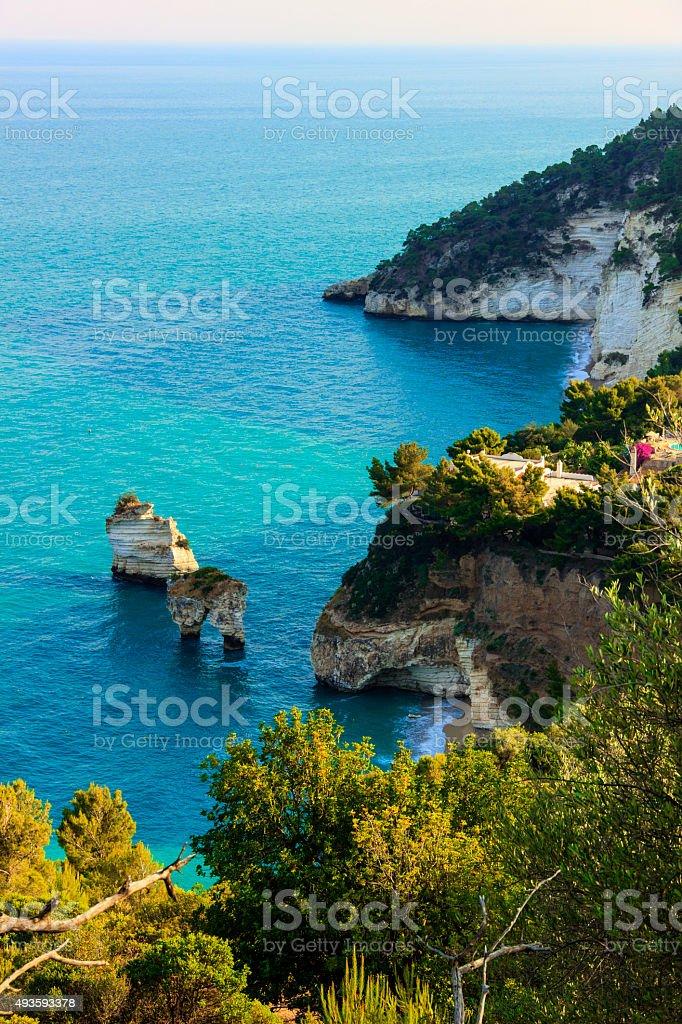 Most beautiful coasts of Italy:Baia dei Mergoli beach (Apulia), stock photo