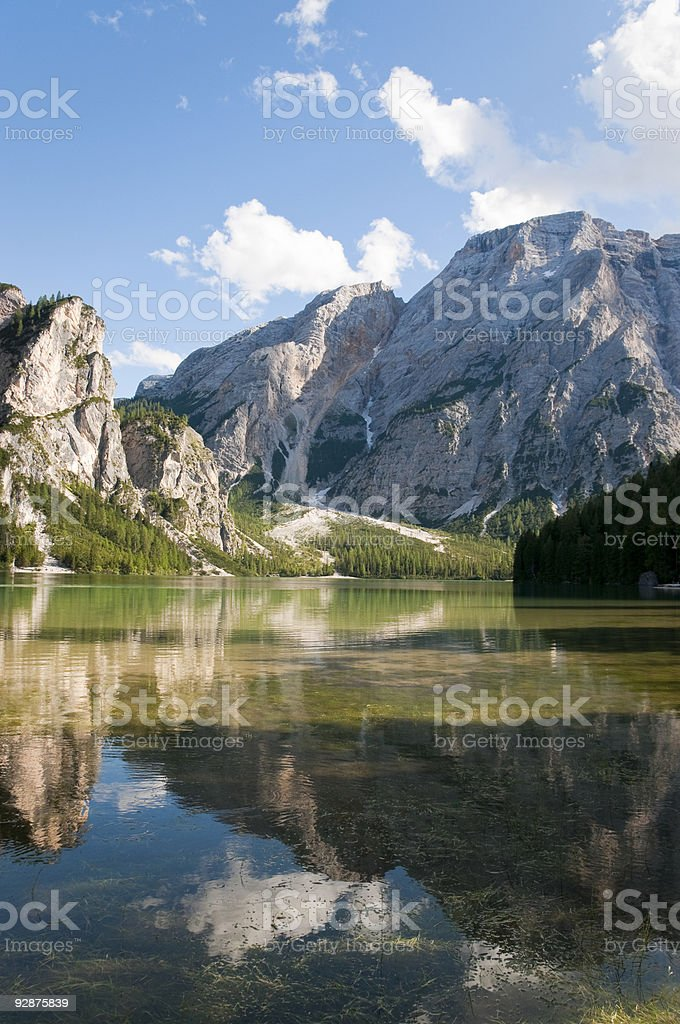 Most beautiful lake in the Dolomites royalty-free stock photo