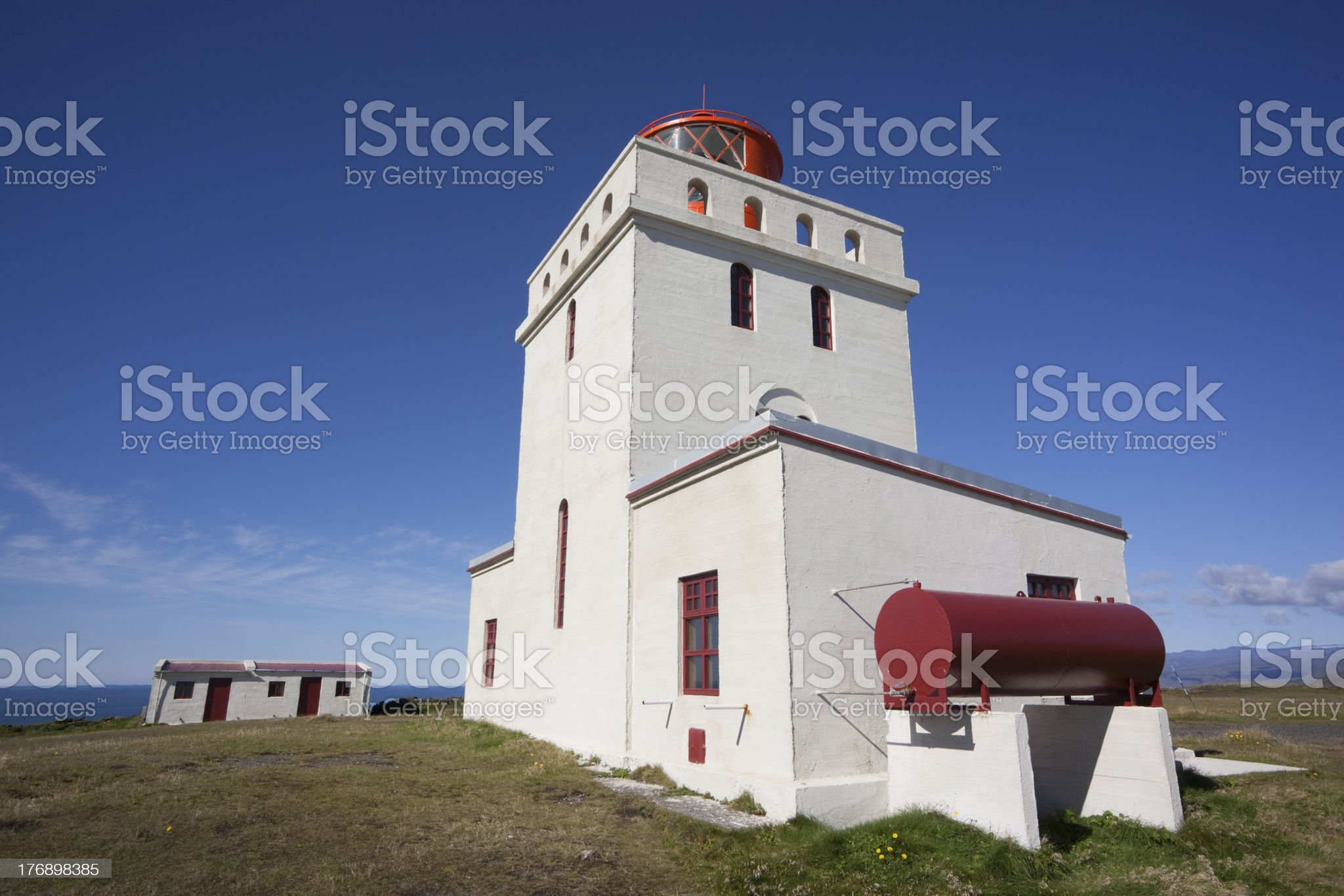 Most beautiful lighthouse at DyrhAlaey in Iceland royalty-free stock photo