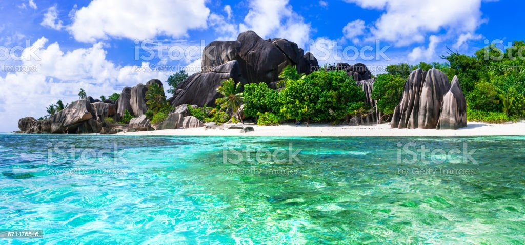 Most beautiful tropical beaches - Anse source d'argent in La digue island, Seychelles stock photo