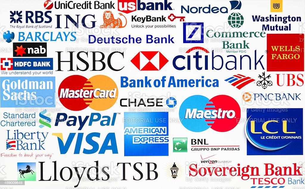 most famous logotype of Bank in the world stock photo