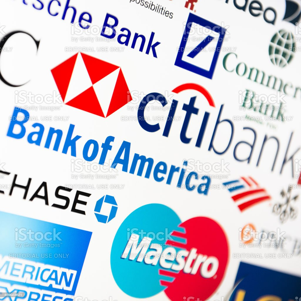 most famous logotype of Bank in the world royalty-free stock photo
