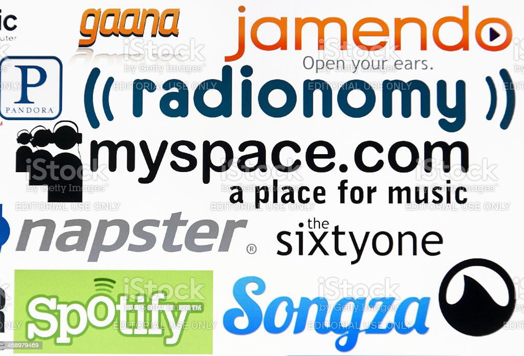 most famous logotype of free website for sound listening stock photo