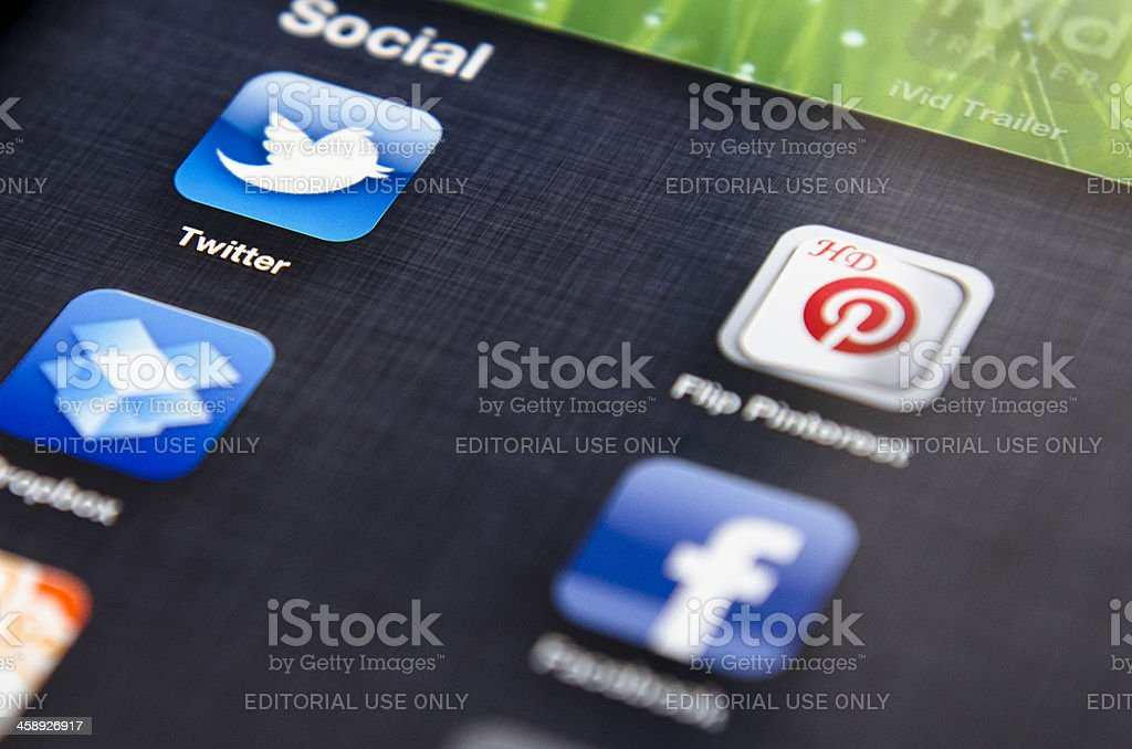 Most famous social media application on ipad 3 royalty-free stock photo
