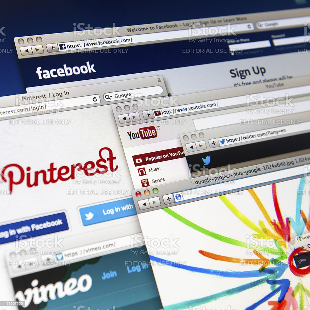 Most famous social media website stock photo