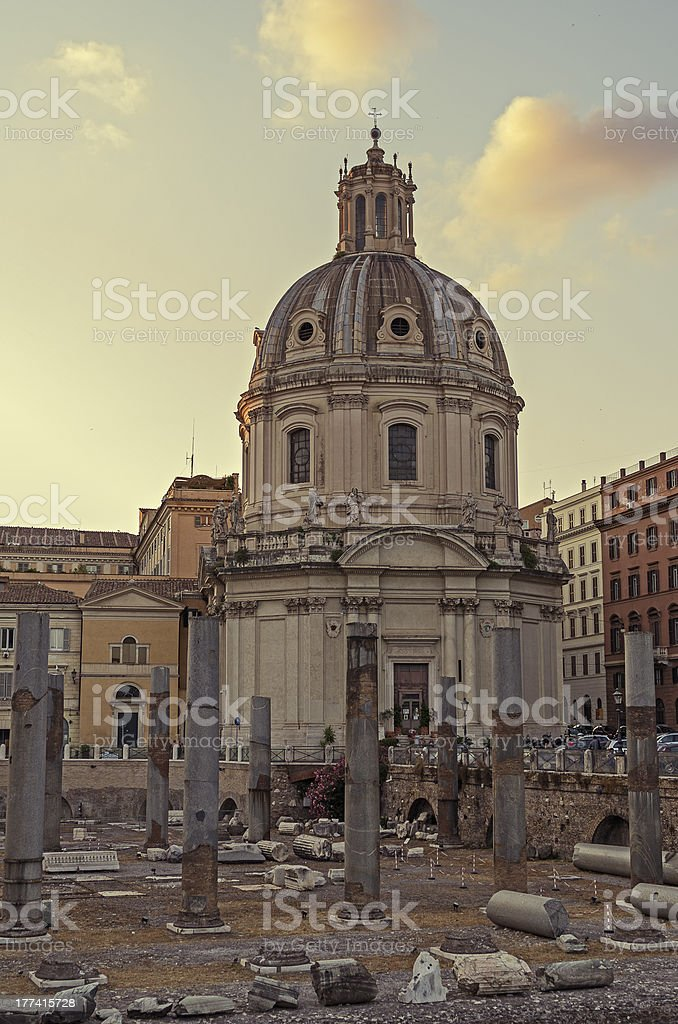 Santissimo Nome di Maria al Foro Traiano, Rome stock photo