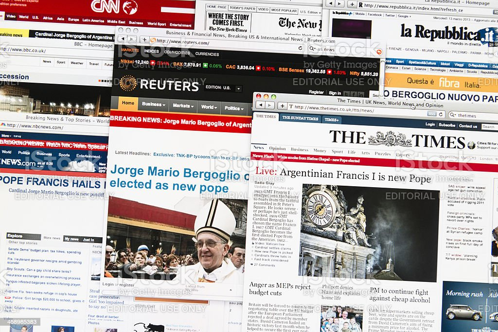 Most important newspapers headlines after the new Pope election stock photo