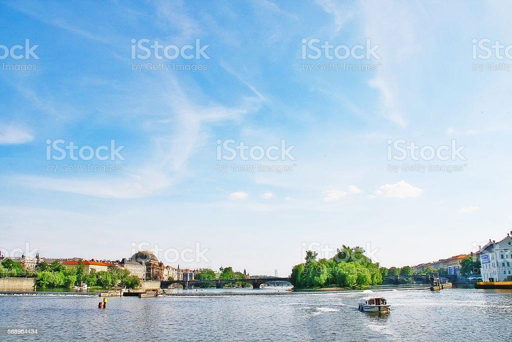 Most legii and Vltava river (Moldau) stock photo