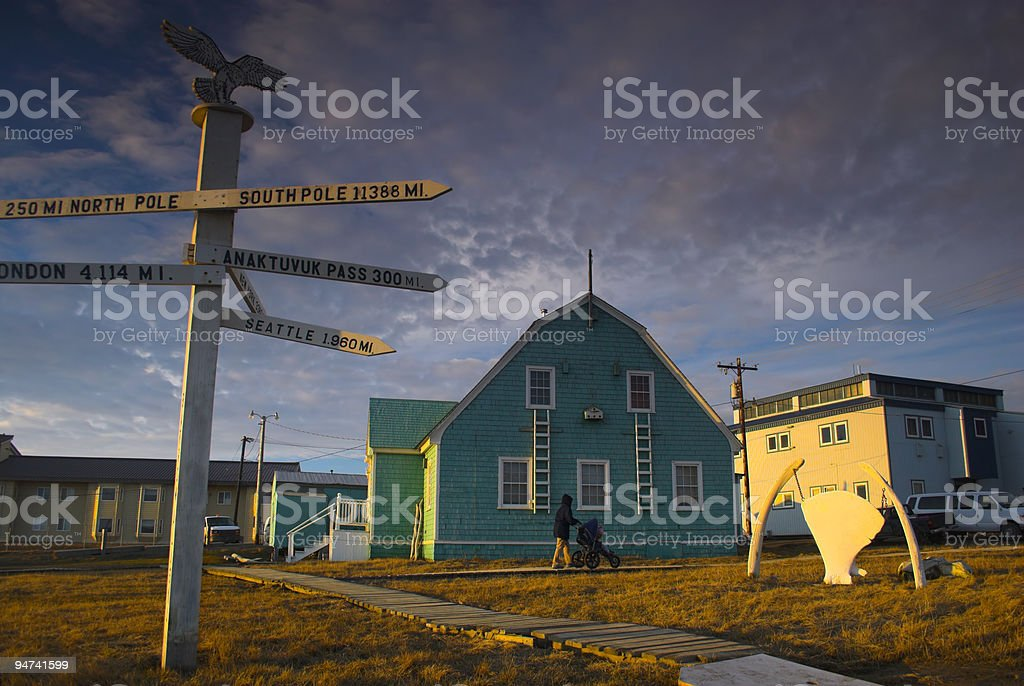 Most northern point in USA - Barrow, Alaska stock photo