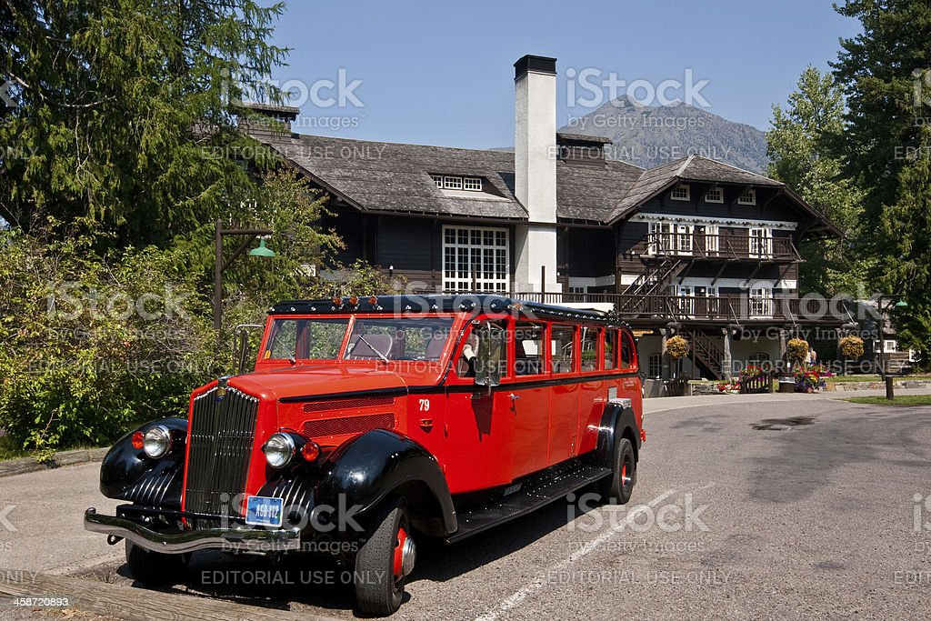 Red Jammer Bus at Lake McDonald Lodge stock photo