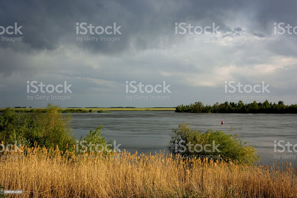 Most of the water on the Irtysh river stock photo