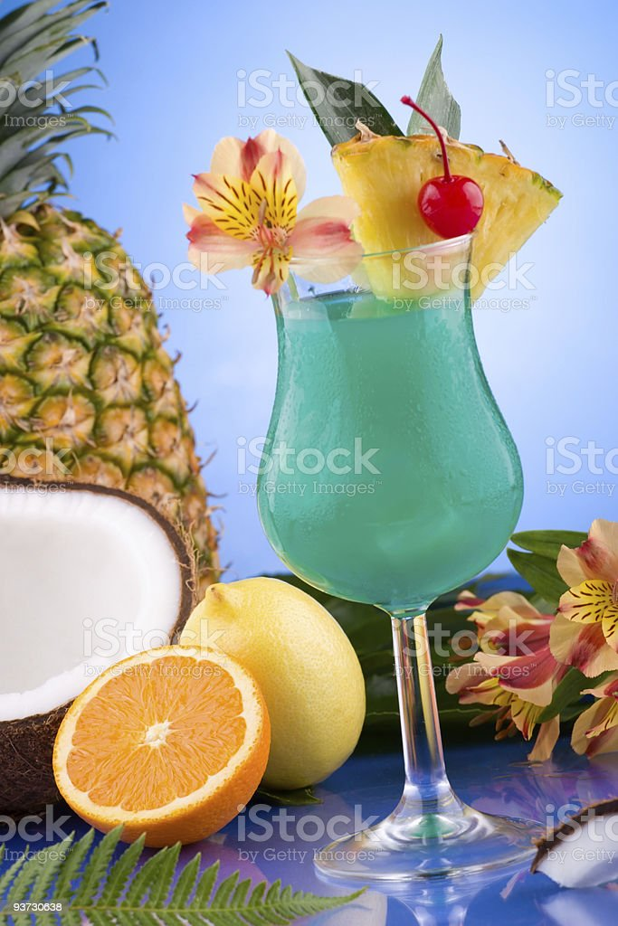 Most popular cocktails series - Blue Hawaiian royalty-free stock photo