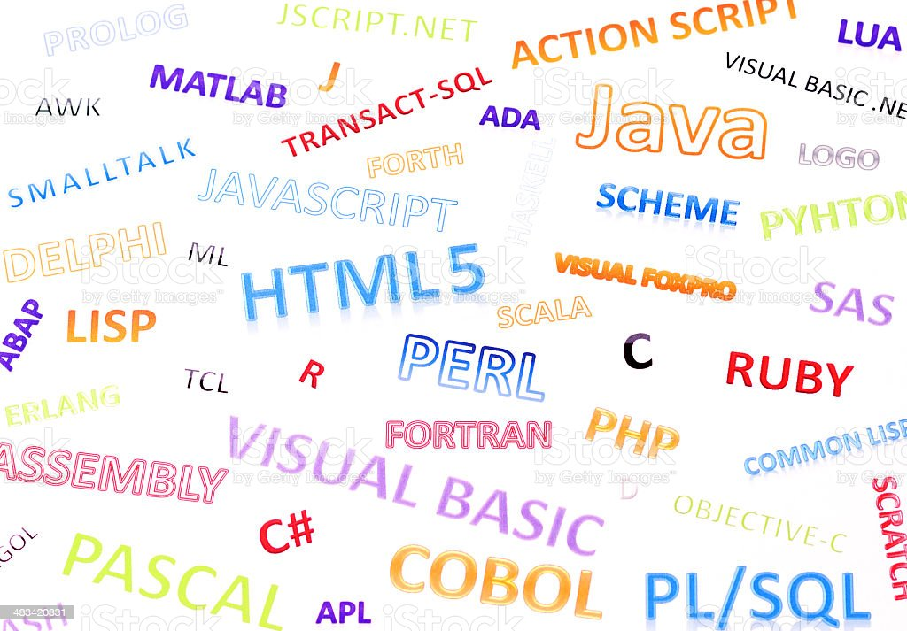 Most widely used programming languages €‹in the world stock photo