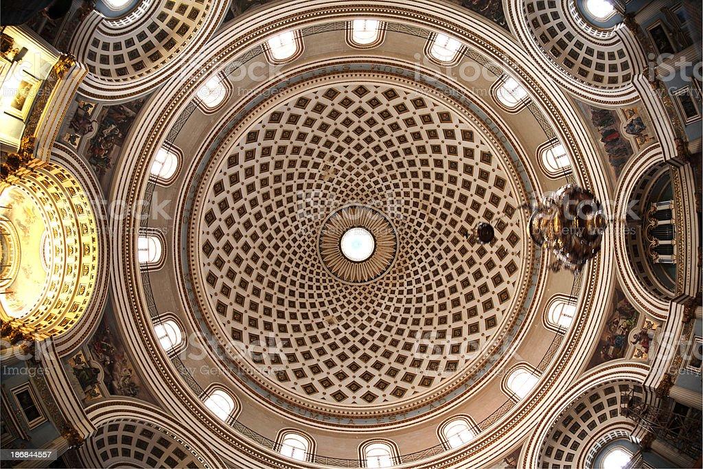Mosta Dome, Rotunda of St Mary - Roof royalty-free stock photo