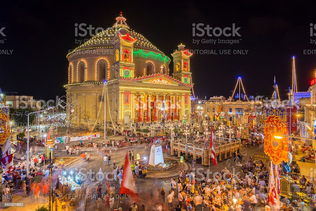 Mosta festival at night with the famous Mosta Dome stock photo