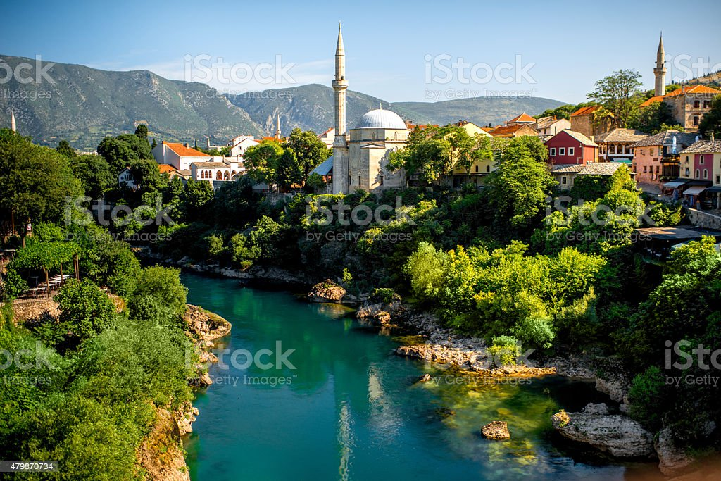 Mostar city stock photo