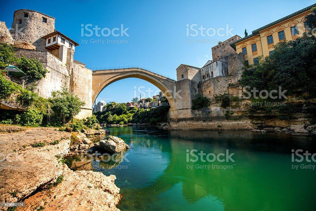 Mostar city view stock photo