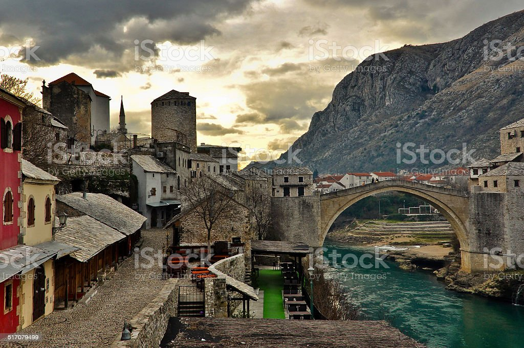 Mostar Old Town stock photo
