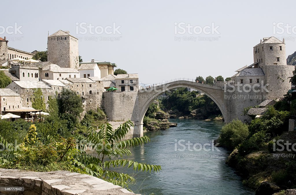 Mostar town and bridge stock photo