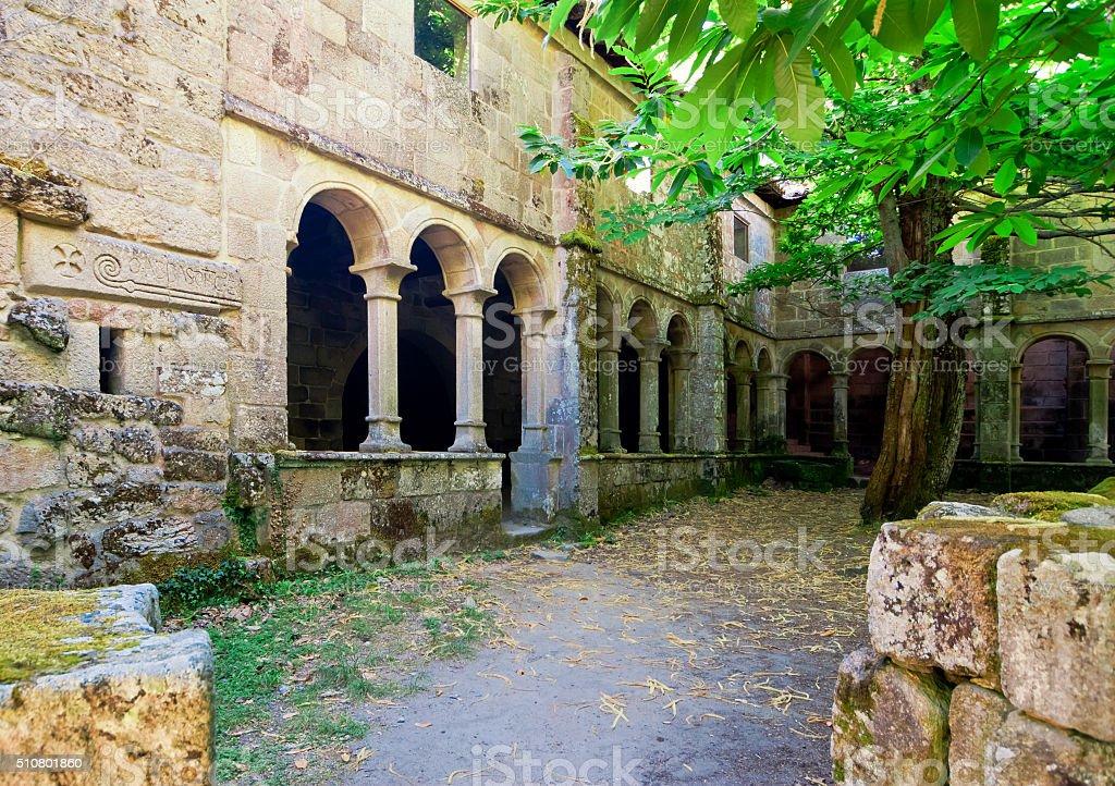 Mosteiro, Church of Santa Cristina on river Sil, Galicia, Spain. stock photo
