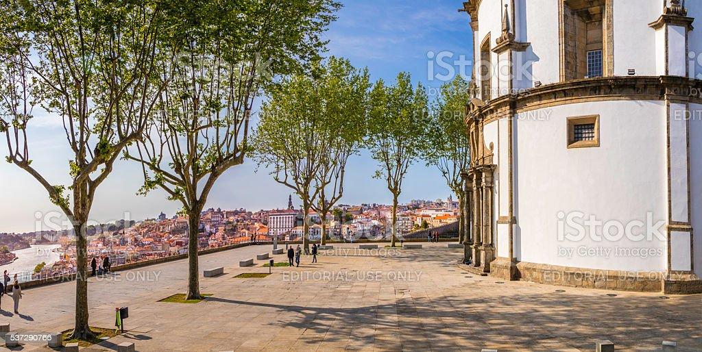 'Mosteiro da Serra do Pilar' and Porto city below stock photo