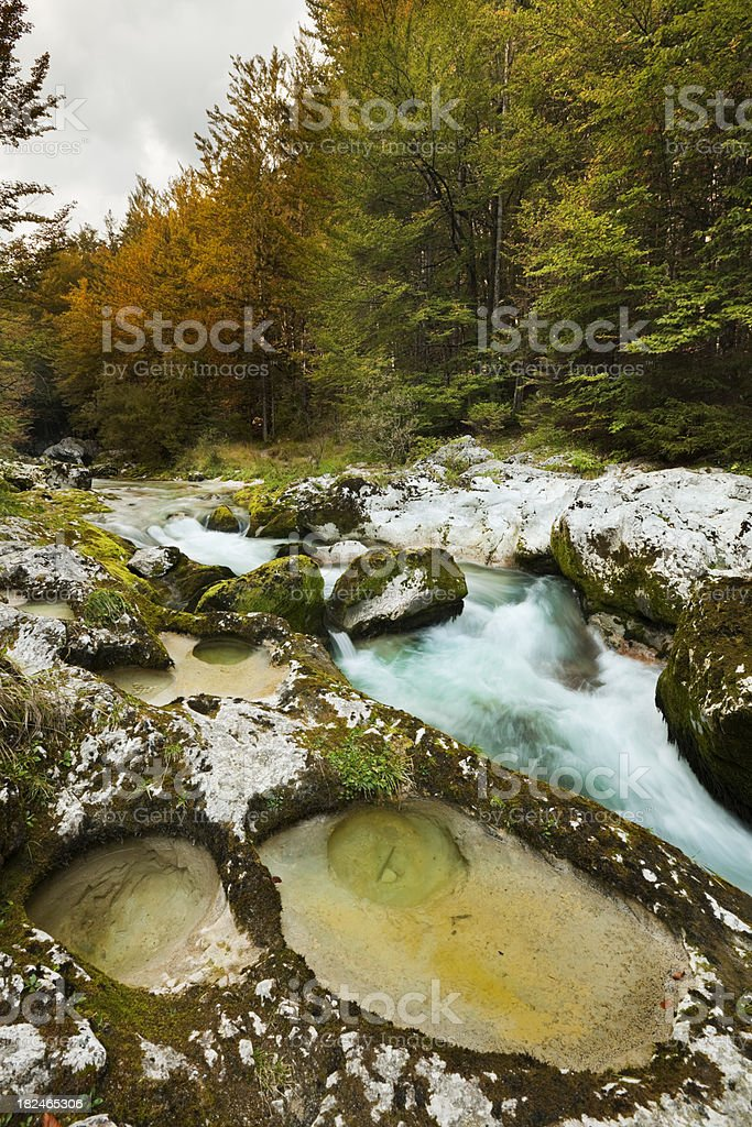 Mostnica river in the Bohinj region of Slovenia in autumn royalty-free stock photo