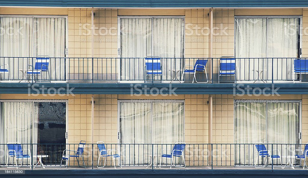 Motel Balcony with Chairs stock photo