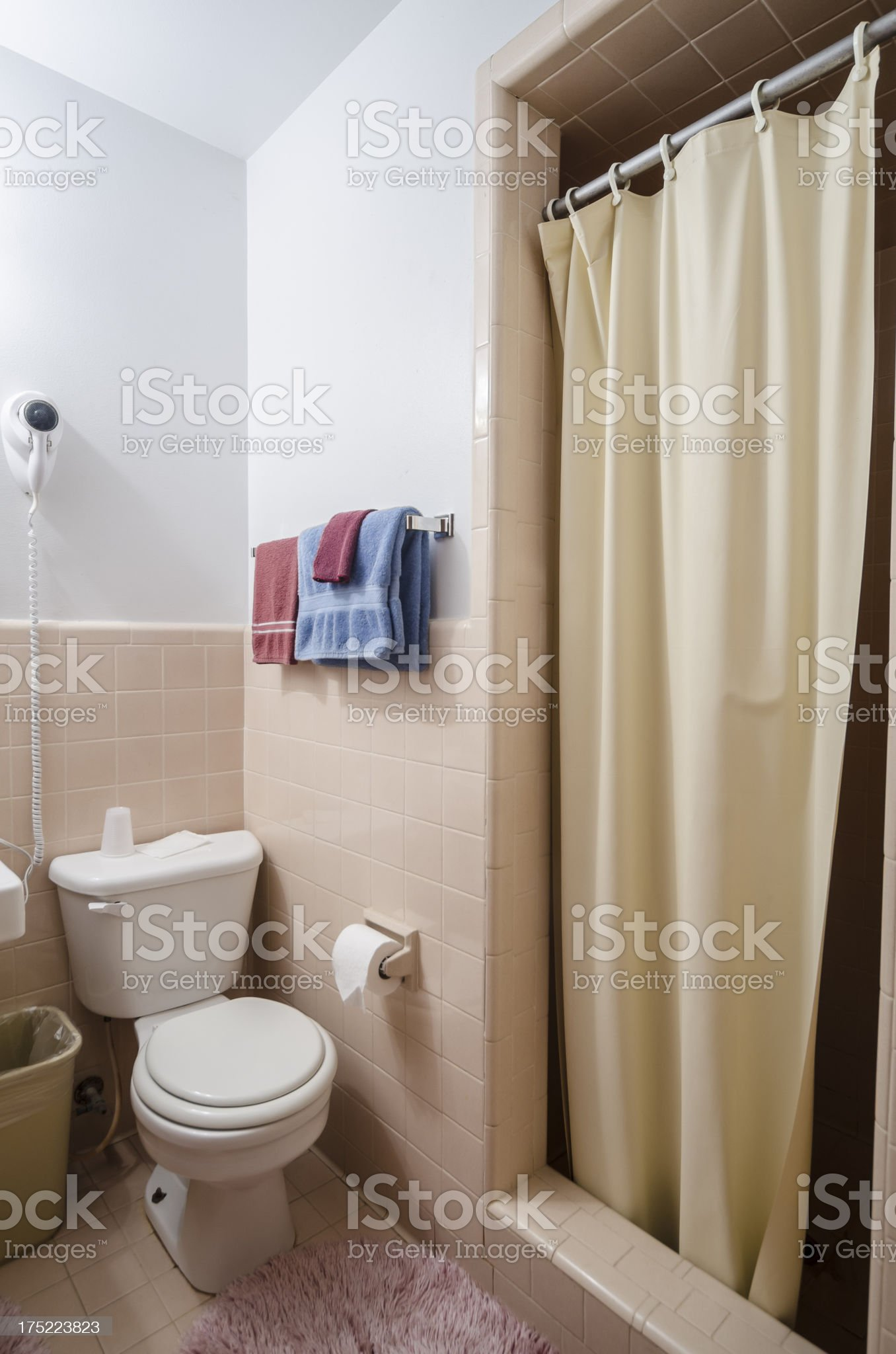 Motel bathroom and shower royalty-free stock photo